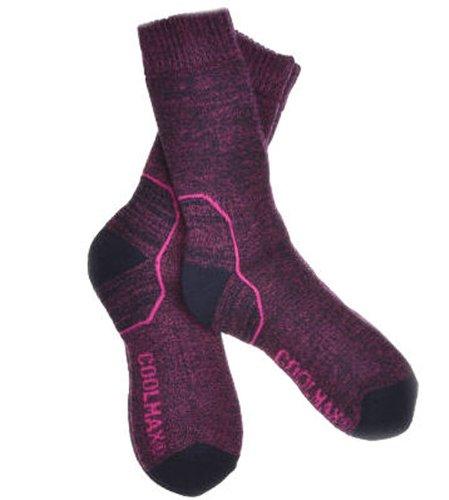 2 pairs of ladies pink wool coolmax walking socks - hiking