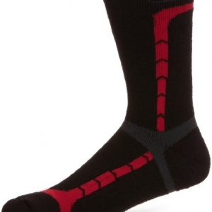 Berghaus Men's Hiking Midweight Crew Sock - Jet Black/Extreme Red/Coal, Large