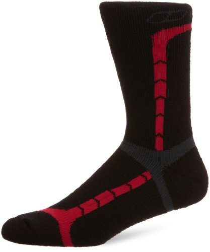 Berghaus Men's Hiking Midweight Crew Sock - Jet Black/Extreme Red/Coal, Large