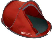 Mountain Warehouse Pop Up 3 Man Three Person Single Skin Plain Festival Camping Tent Easy Pitch Red One Size