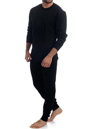 Men's 2pc Thermal 100% Pure Cotton(240 gsm)Long Sleeve Top and Long John Set (Medium, Black)