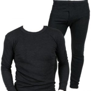 Mens Quality Thermal Underwear Long Sleeve Top and Long Johns FUL SET - Available in White / Blue / Charcoal and in Sizes Small / Medium / Large / X Large / XX Large (XX Large, Charcoal)