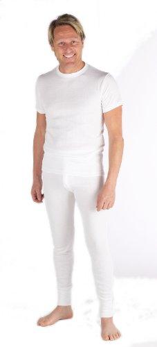 Mens Thermal Set Short Sleeve Vest and Long Johns White - LARGE