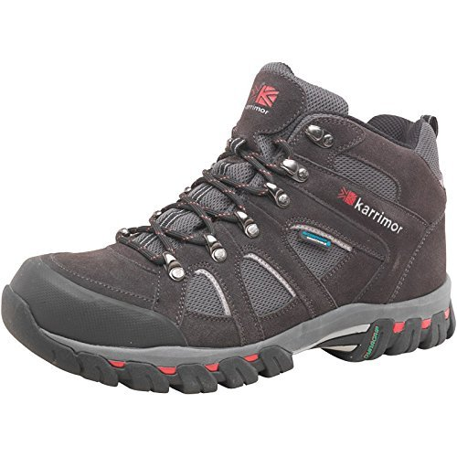 Bodmin Sea Dark Brown/Grey/Red Karrimor Mens Bodmin Mid 4 Weathertite Hiking Boots Black Sea