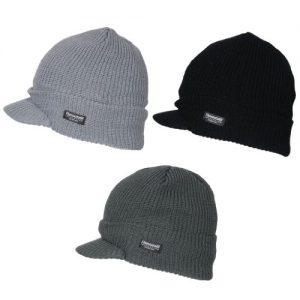 Mens Winter Warm Ribbed Thermal Fleece Lined Outdoor Ski Peak Beanie Hat Black