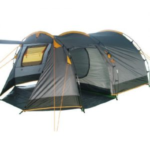 CampFeuer® - Tunnel Tent, 410 x 260 x 150 cm, 4 Person, Orange / Grey / Black