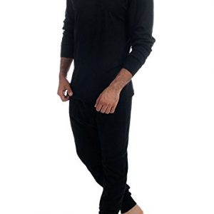 Men's 2pc Thermal 100% Pure Cotton(240 gsm)Long Sleeve Top and Long John Set (Medium, Black)