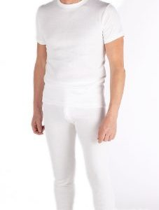 Mens Thermal Set Short Sleeve Vest and Long Johns White - LARGE