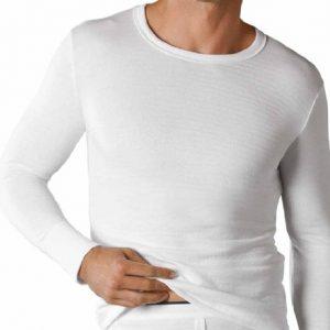 Mens Thermal Underwear T SHIRT VEST ski LONG Sleeve MED White