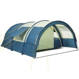 CampFeuer® - Tunnel Tent with 2 Sleeping Compartments, Khaki / Blue, with Groundsheet and Movable Front Wall