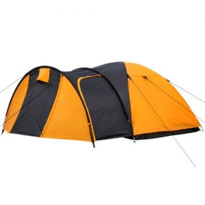 CampFeuer® - Igloo/Dome-Tent with Porch for 3-4 Persons, Orange / Black