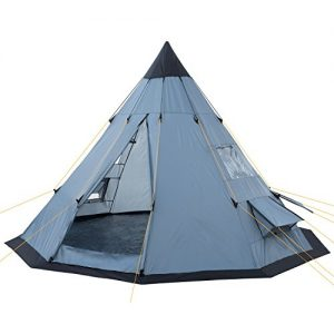 CampFeuer® - Tipi Teepee - Tent, grey/blue