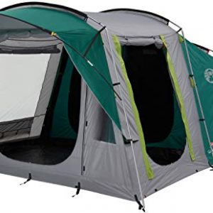coleman tent oak canyon 4, 4 person family tent with blackout bedroom technology, 4 man camping tent with 2 extra dark sleeping cabins, 100 percent waterproof, easy to pitch