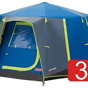 coleman tent octago, 3 man tent ideal for camping in the garden, dome tent, waterproof 3 person camping tent with sewn-in groundsheet