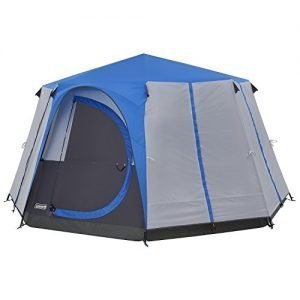 coleman tent octagon, 6 man festival dome tent, 6 person family camping tent with 360° panoramic view, stable steel pole construction, sewn-in groundsheet, 100 percent waterproof