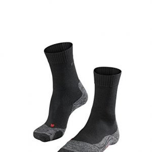 falke men's tk2 hiking socks merino wool black grey more colours uk size 5.5-14 ladies thermal thick midweight padded cushioned sole breathable quick dry anti blister outdoor walking sock 1 pair