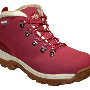 ladies trek trekker hiking boot light red size