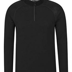 mountain warehouse merino mens long sleeved thermal baselayer top - breathable jumper, half zip, comfortable sweater, warm tee - for camping in winter