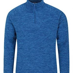 mountain warehouse snowdon mens micro fleece top - warm, breathable, quick drying, zip collar fleece sweater, soft & smooth pullover - for travelling, winter walking