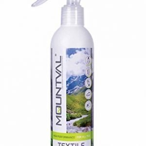 mountval textile shield, spray-on waterproofer for wet weather and hiking garments, pleasant smell, works with gore-tex, without solvent, transparent, 300ml - 10.15 fl. oz., transparent and neutral