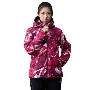 QINOS Mountaineering ski warm clothing,Winter outdoor leisure waterproof jacket,Soft and stylish insulated hiking trench coat,Hooded windbreaker raincoat,Purple-XXXL
