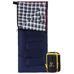 redcamp cotton lined sleeping bag for adult, flannel compact sleeping bag for camping fishing 3-4 season cold weather winter