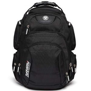 tatami fightwear rogue back pack 50l backpack with eva back padding, adjustable shoulder straps, integrated foam panels, 18 zippered pockets, laptop and ipad compartments, moulded protection zone