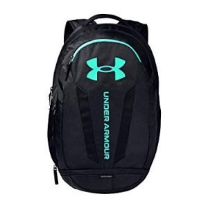 under armour adult hustle 5.0 backpack , black (003)/seaglass blue , one size fits all