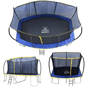 zero gravity ultima 5 rectangular barrel trampoline in 3 sizes. high specification with safety enclosure netting and ladder