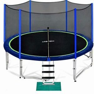 zupapa 15 14 12 10 ft trampoline for kids with safety enclosure net weight capacity outdoor trampolines with non-slip ladder rain cover