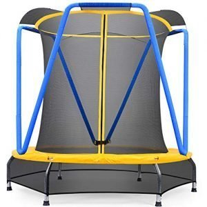 zupapa 54 inch 4.5ft small trampoline for kids children ultra quiet mini toddler baby trampolines with enclosure net bungee cords