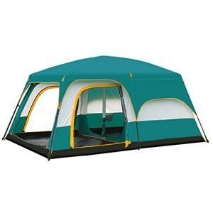 NANE Camping Tent, 8 to 12 man Festival tent, large Dome Tent with full standing head height, 100% waterproof Family Camping Tent, Two rooms and one living room,Large