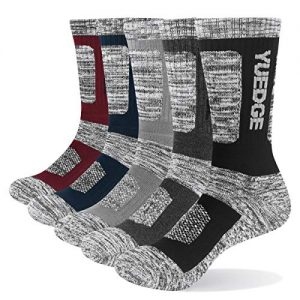 YUEDGE Men's 5 Pairs Wicking Breathable Cushion Comfortable Casual Crew Socks Outdoor Multi Performance Hiking Trekking Walking Athletic Socks